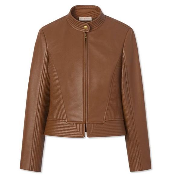 861a39fa4b3a1d Tory Burch Leather Calista Riding Jacket